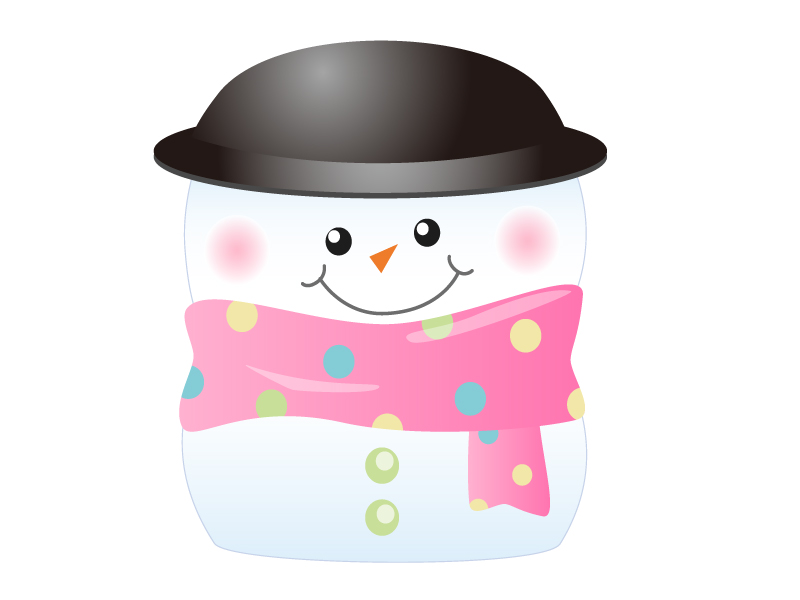 黒い帽子をかぶった雪だるま・冬のイラスト素材