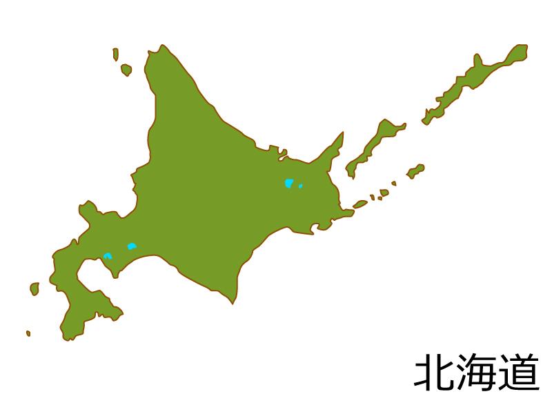 北海道の地図(色付き)のイラスト素材