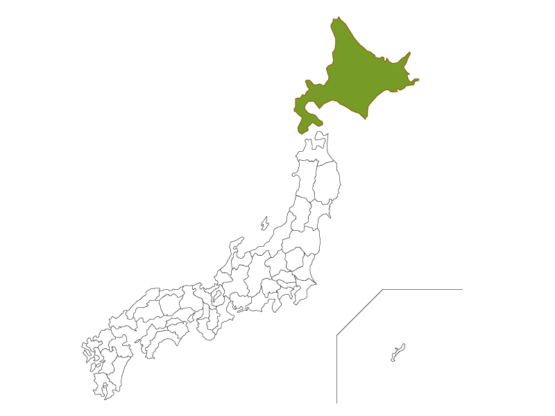 日本地図と北海道のイラスト