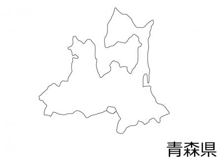 青森県の白地図のイラスト素材