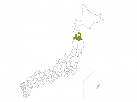 日本地図と青森県のイラスト