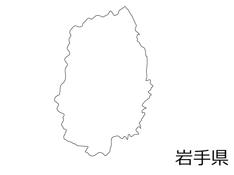 岩手県の白地図のイラスト素材
