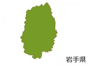 岩手県の地図(色付き)のイラスト素材