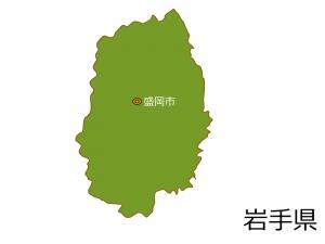 岩手県と盛岡市の地図イラスト素材