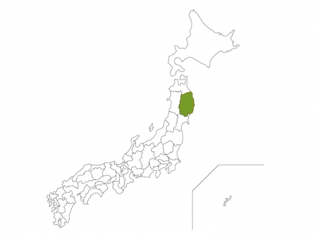 日本地図と岩手県のイラスト