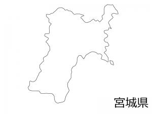 宮城県の白地図のイラスト素材