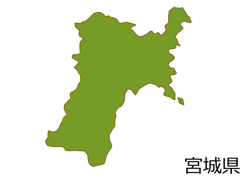 宮城県の地図(色付き)のイラスト素材