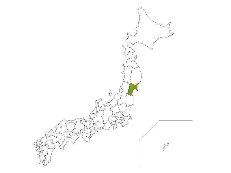日本地図と宮城県のイラスト