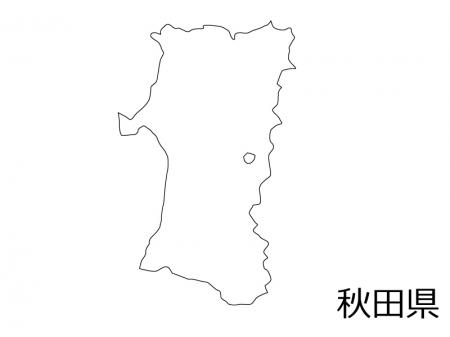 秋田県の白地図のイラスト素材