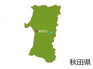 秋田県と秋田市の地図イラスト素材
