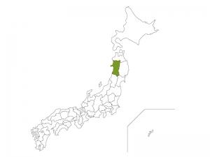 日本地図と秋田県のイラスト