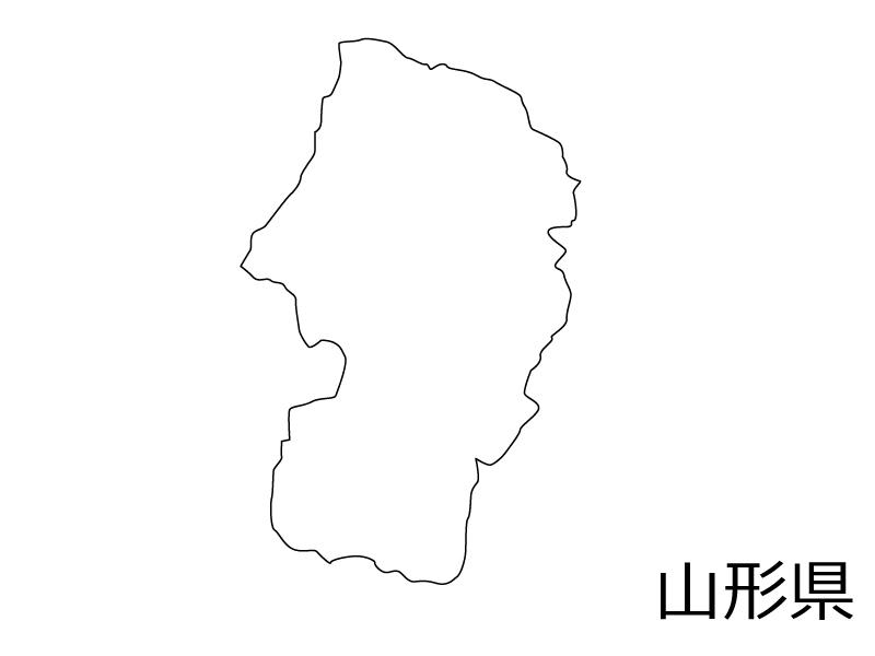 山形県の白地図のイラスト素材