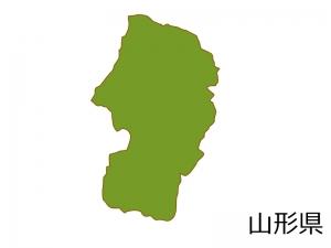 山形県の地図(色付き)のイラスト素材