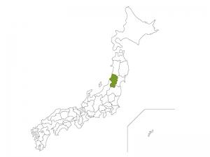 日本地図と山形県のイラスト