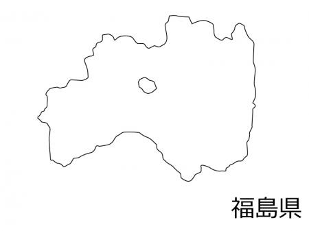 福島県の白地図のイラスト素材