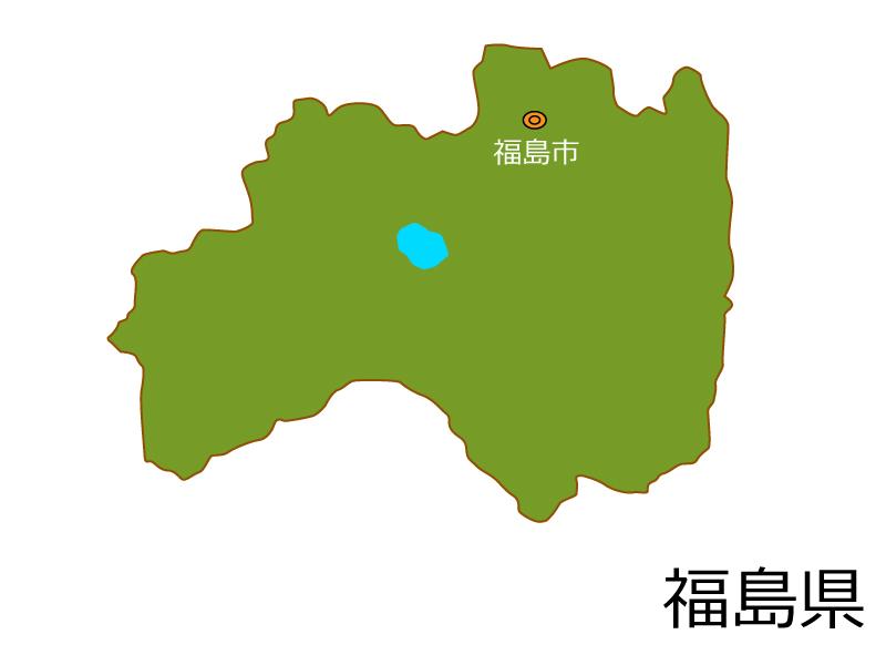 福島県と福島市の地図イラスト素材