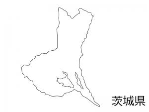 茨城県の白地図のイラスト素材