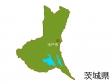 茨城県と水戸市の地図イラスト素材