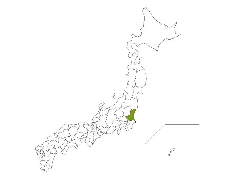日本地図と茨城県のイラスト