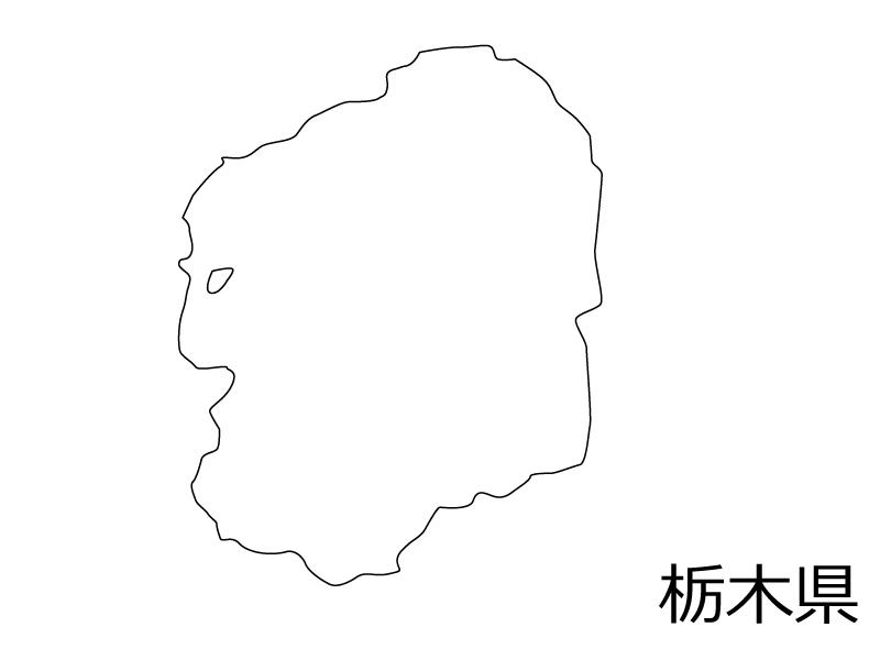 栃木県の白地図のイラスト素材