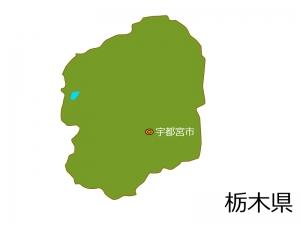栃木県と宇都宮市の地図イラスト素材