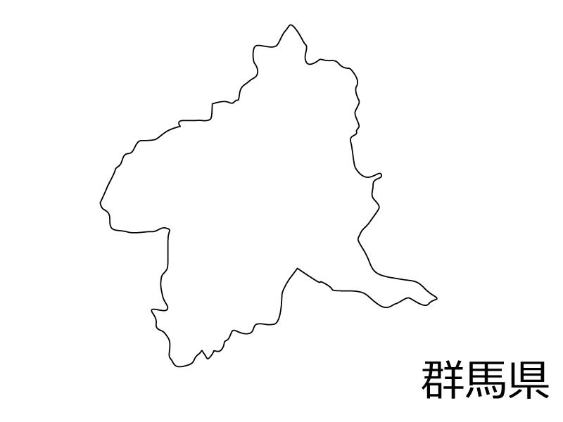 群馬県の白地図のイラスト素材