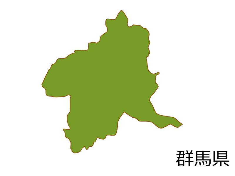 群馬県の地図(色付き)のイラスト素材