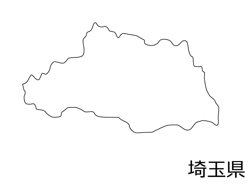 埼玉県の白地図のイラスト素材