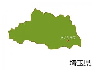 埼玉県とさいたま市の地図イラスト素材