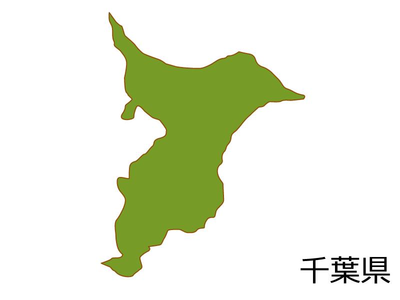 千葉県の地図(色付き)のイラスト素材