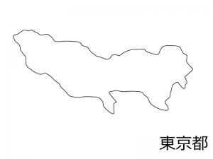 東京都の白地図のイラスト素材