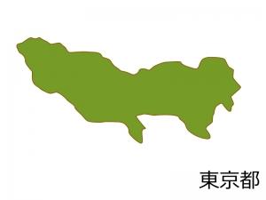 東京都の地図(色付き)のイラスト素材