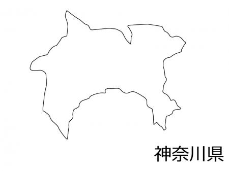 神奈川県の白地図のイラスト素材