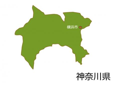 神奈川県と横浜市の地図イラスト素材