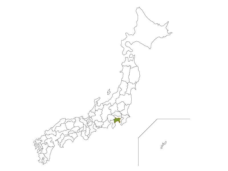 日本地図と神奈川県のイラスト