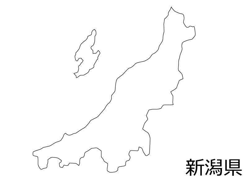 新潟県の白地図のイラスト素材