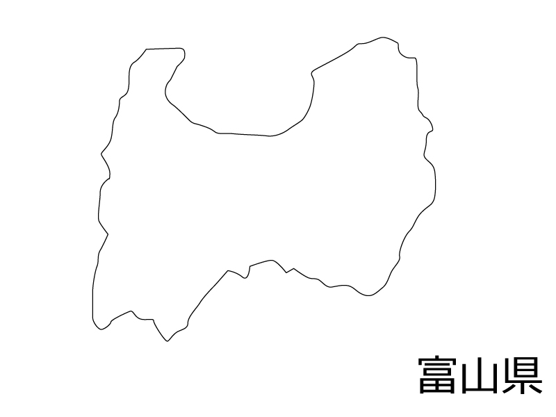 富山県の白地図のイラスト素材
