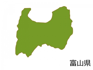 富山県の地図(色付き)のイラスト素材