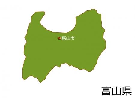 富山県と富山市の地図イラスト素材