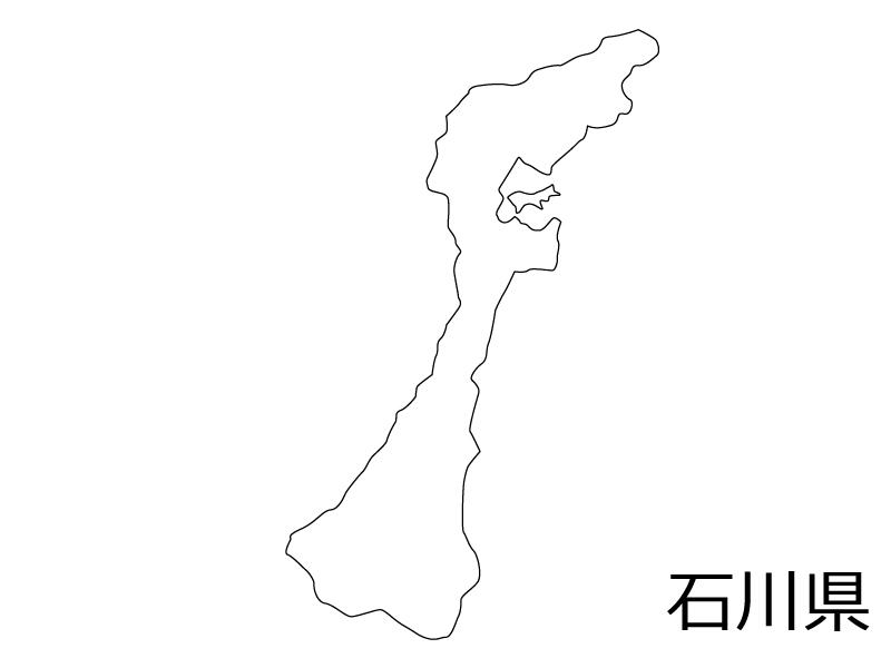 石川県の白地図のイラスト素材
