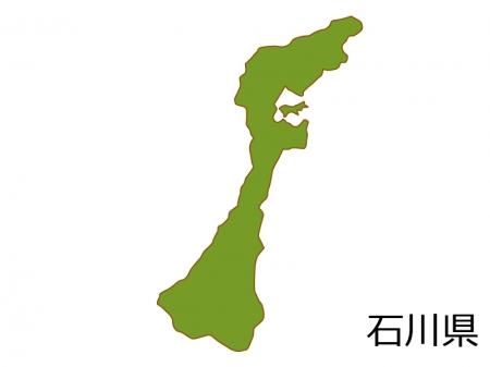 石川県の地図(色付き)のイラスト素材