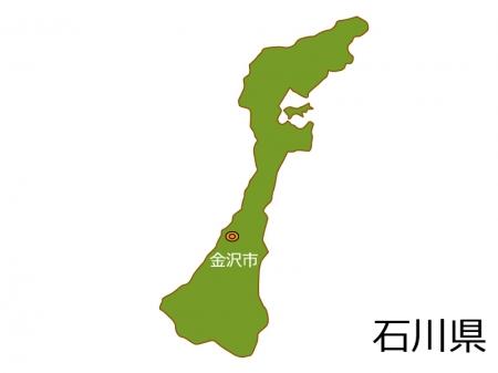 石川県と金沢市の地図イラスト素材