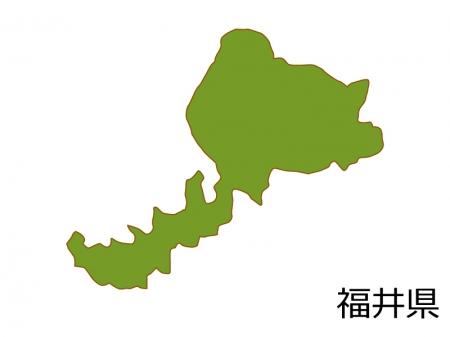 福井県の地図(色付き)のイラスト素材