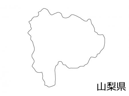 山梨県の白地図のイラスト素材