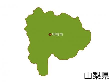 山梨県と甲府市の地図イラスト素材