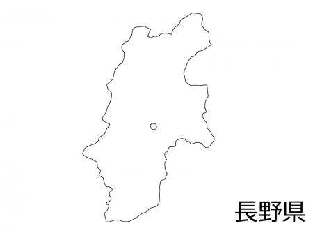長野県の白地図のイラスト素材