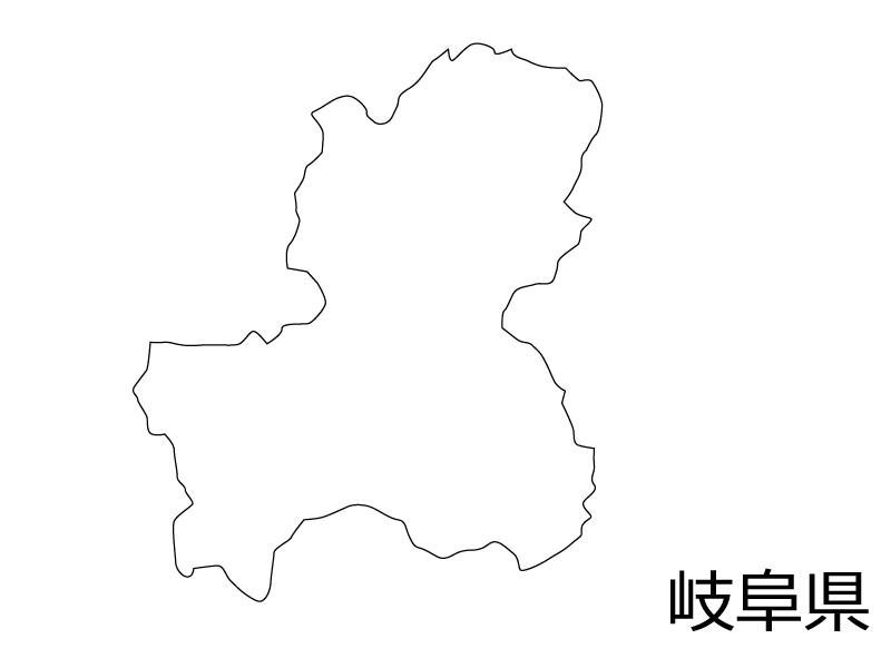 岐阜県の白地図のイラスト素材