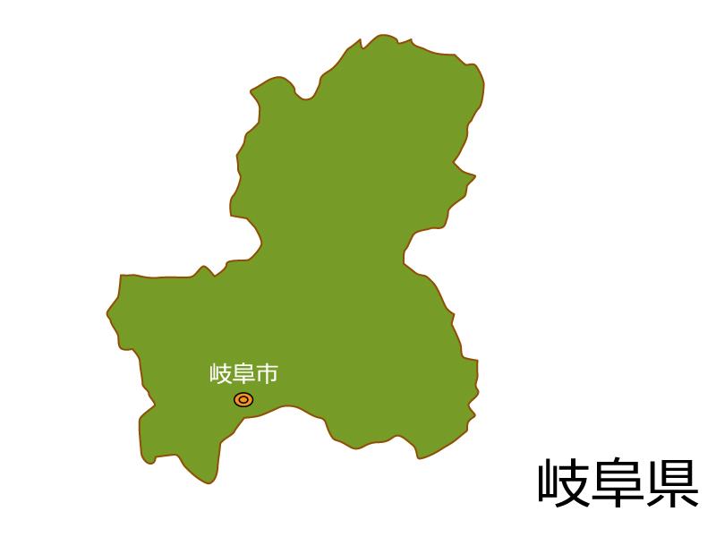 岐阜県と岐阜市の地図イラスト素材