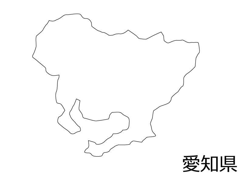 愛知県の白地図のイラスト素材