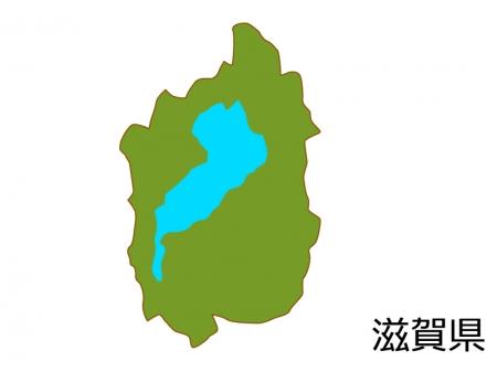 滋賀県の地図(色付き)のイラスト素材